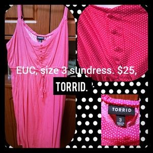 Torrid, size 3 pink/Polka dot sun dress